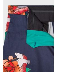 Paul Smith Blue Slim-fit Navy 'birds And Hibiscus' Print Shorts for men