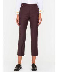 Paul Smith | Purple Women's Slim-fit Damson Wool Trousers | Lyst