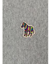Paul Smith - Gray Grey Marl Organic-Cotton Zebra Logo Sweatshirt for Men - Lyst