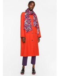 Paul Smith Purple Women's Plum 'wild Garden Floral' Pattern Scarf