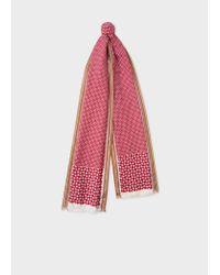 Paul Smith Red Geometric Motif Silk-Blend Scarf