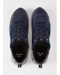 Paul Smith Blue Navy And Grey 'rappid' Knitted Trainers for men
