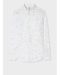 Paul Smith Men's Slim-fit White 'puzzle Pieces' Print Shirt for men