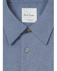 Paul Smith Gray Men's Slim-fit Dark Grey Cotton Shirt With 'artist Stripe' Cuff Lining for men