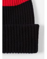 Paul Smith - Men's Black Ribbed Lambswool Beanie Hat With Red Stripe for Men - Lyst