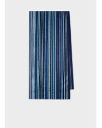 Écharpe Bleue Texturée 'Signature Stripe' Paul Smith pour homme en coloris Blue