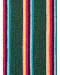 Paul Smith - Dark Green 'artist Stripe' Band Merino Wool Scarf for Men - Lyst