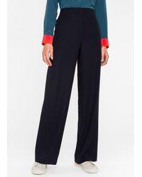 Paul Smith | Blue Women's Navy Wool-viscose Parallel Leg Trousers | Lyst