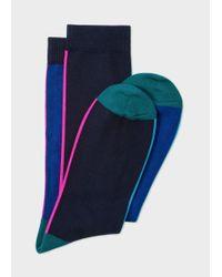 Paul Smith - Men's Navy And Royal Blue Vertical Stripe Socks for Men - Lyst