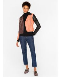 Paul Smith - Multicolor Women's Colour-block Leather Biker Jacket - Lyst
