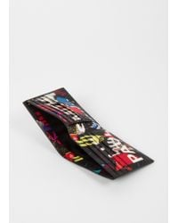 Paul Smith - Black Leather 'cycle Gloves' Print Interior Billfold Wallet for Men - Lyst