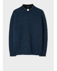 Paul Smith - Blue Men's Nepped Navy Wool Sweater for Men - Lyst