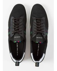 Paul Smith Men's Black 'Rabknit' Knitted Trainers With Striped Webbing for men