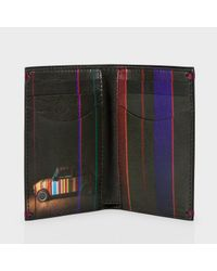 Paul Smith Black Leather 'Mini Graphic Edge' Credit Card Wallet for men