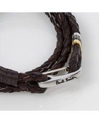 Paul Smith - Men's Brown Leather Wrap Bracelet for Men - Lyst