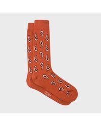 Paul Smith - Men's Burnt Orange Paisley Wool-cashmere Socks for Men - Lyst