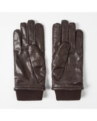 Paul Smith - Men's Brown Leather Ribbed Cuff Gloves for Men - Lyst