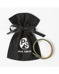 Paul Smith - Natural Men's Khaki Leather Ps Logo Bracelet for Men - Lyst