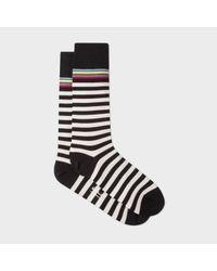 Paul Smith | Men's Black And White Stripe With Multi-stripe Trim Socks for Men | Lyst