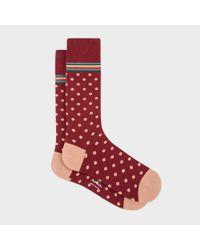 Paul Smith | Red Men's Burgundy Polka Dot Socks With Multi-stripe Trim for Men | Lyst