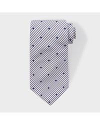 Paul Smith - Blue Men's Navy Stripe And Spot Silk Tie for Men - Lyst