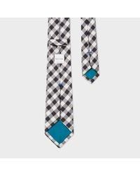 Paul Smith - Men's Black And White Gingham Narrow Silk Tie for Men - Lyst