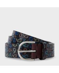 Paul Smith | Men's Black Multi-coloured Paisley Print Leather Belt for Men | Lyst