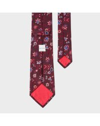 Paul Smith Multicolor Men's Burgundy Floral Pattern Silk Tie for men