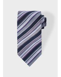 Paul Smith - Blue Men's Navy Multi-coloured Diagonal Stripe Silk Tie for Men - Lyst