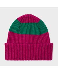 Paul Smith - Men's Raspberry Pink Ribbed Lambswool Beanie Hat With Green Stripe for Men - Lyst