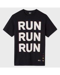 Paul Smith - Men's Black 'run' Print Organic-cotton T-shirt for Men - Lyst
