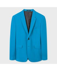 Paul Smith Blue A Suit To Travel In - Men's Slim-fit Turquoise Wool Blazer for men