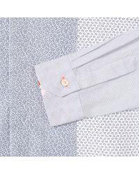 Paul Smith Men's Light Blue Contrast-print Panel Band-collar Shirt for men