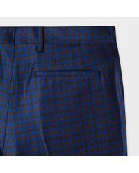 Paul Smith Blue Men's Slim-fit Navy Mini-check Wool Trousers for men