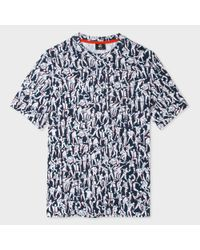 Paul Smith   Blue Men's Navy And White 'dancing' Print T-shirt for Men   Lyst