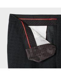 Paul Smith Men's Slim-fit Black Subtle-paisley Pleated Trousers for men
