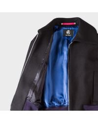 Paul Smith Blue Women's Navy Wool-cashmere Bomber Jacket With Faux-fur Cuffs