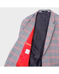 Paul Smith Gray Men's Slim-fit Grey And Pink Check Carlo Barbera Wool Blazer for men