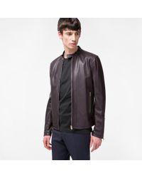 Paul Smith Multicolor Men's Damson Grained Leather Biker Jacket for men