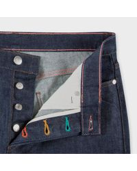 Paul Smith Blue Men's Slim-fit Raw Denim Jeans With 'peace' Stitch Detail for men