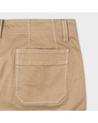 Paul Smith Natural Men's Mid-fit Taupe Chinos With Contrast Stitching for men