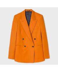 Paul Smith | Women's Burnt Orange Wool Double-breasted Blazer | Lyst