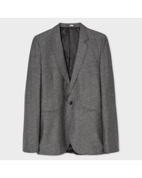 Paul Smith Gray Men's Mid-fit Grey Salt-and-pepper Wool-silk Blend Blazer for men