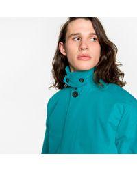 Paul Smith Blue Men's Turquoise Cotton-blend Showerproof Mac for men
