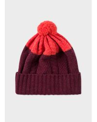 Paul Smith Multicolor Burgundy Cable-Knit Wool Beanie Hat for men