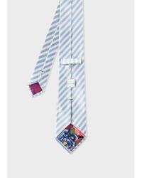 Paul Smith Sky Blue And White Diagonal Stripe Silk Tie for men