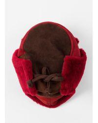Paul Smith - Red Men's Burgundy Colour-block Sheepskin Chapka Hat for Men - Lyst