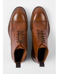 Paul Smith Brown Men's Dip-dyed Tan Calf Leather 'jarman' Boots for men
