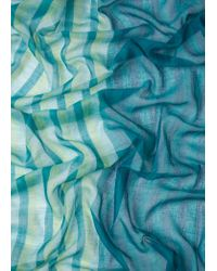 Paul Smith Light Blue And Green Stripe Cotton Scarf With Pompom Details