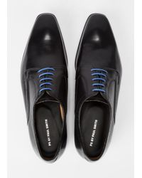 Paul Smith Men's Black Burnished Leather 'Roth' Derby Shoes for men